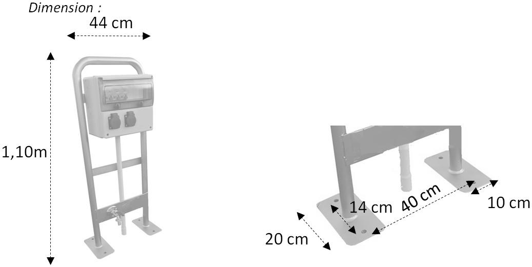 Dimensions borne de distribution 2 prises et un robinet