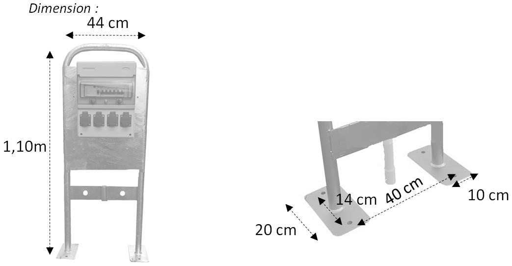 Dimensions borne de distribution 4 prises