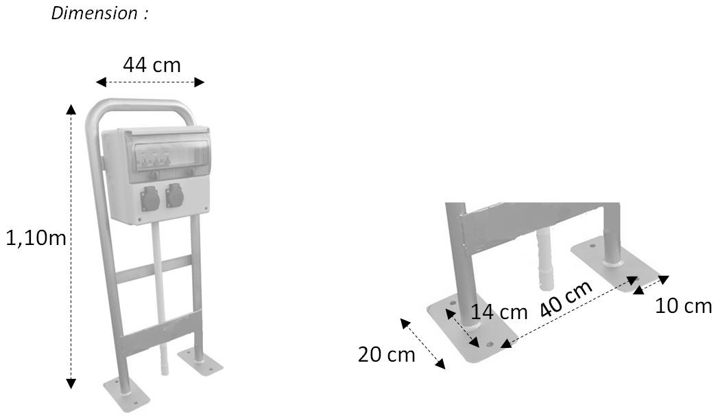 Dimensions borne de distribution 2 prises